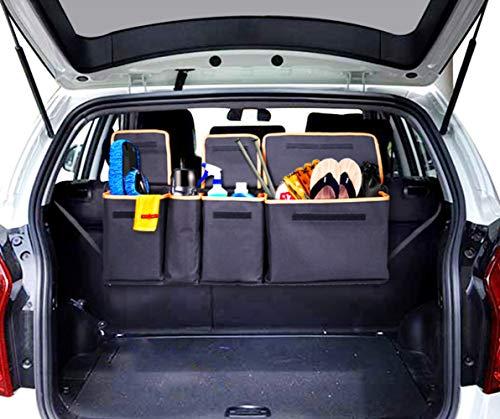 Siivton Backseat Trunk Organizer, Space Saving Car Trunk Organizer with Bottom Plate and Lid Trunk Storage for Kids, Travel, Heavy Duty 4 Pocket Auto Interior Cargo Accessories SUV & Car Organizer ()