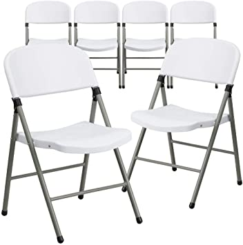 Flash Furniture 6 Pk Capacity Granite White Plastic Folding Chair with Charcoal Frame Hercules Series 330 lb