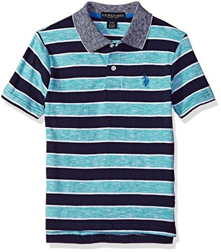 U.S. Polo Assn. Boys' Little Short Sleeve Striped Polo Shirt, Space Dyed slub Island Jade, 5/6 -