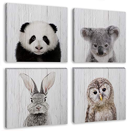 Animal Paintng Wall Art Black and White Safari Baby Animals Nursery Decor Artwork 4 Panels Canvas Picture Print for Bedroom Kids Room