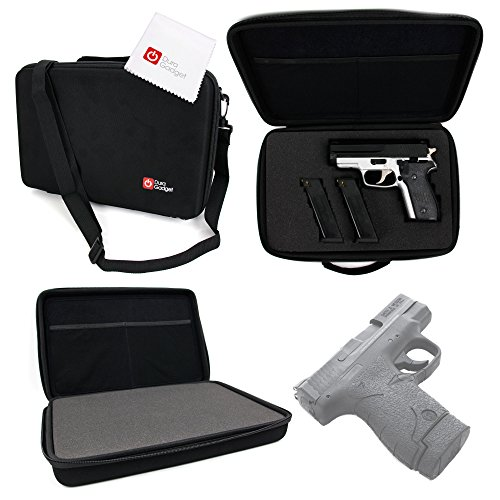DURAGADGET S&W M&P9 SHIELD Storage Case - Tough Black Armoured EVA 'Shell' Zip Case with Fully-Customizable & Shock-Absorbing D.I.Y Foam Interior for S&W M&P9 SHIELD Pistol & Associated Accessories + - Carrying Smith Case And Wesson