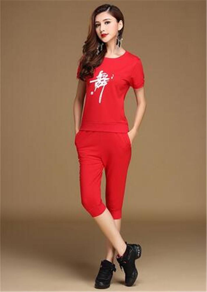 Rouge a Entraînement de Danse féminin Sports de Plein air Perforhommece de Groupe   2 pièces L