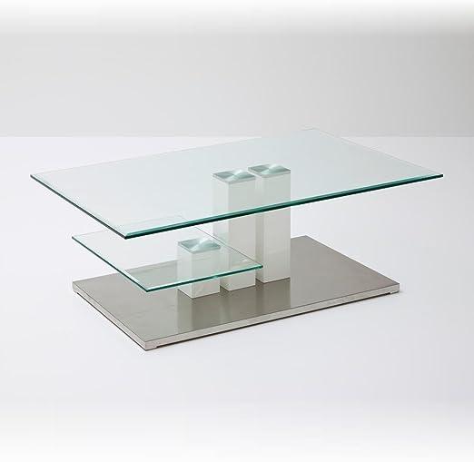 Robas Lund Glastisch Tisch Wohnzimmertisch Glasplatte Weiß