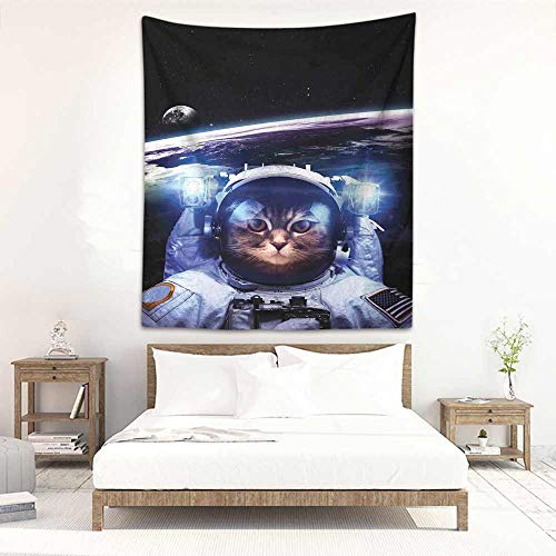 Godves Tapestry Wall Hanging Cat Funny Astronaut Cat Above Earth in Outer Space Explorer Kitty Mission Humor Art Image Tapestry for Home Decor 57