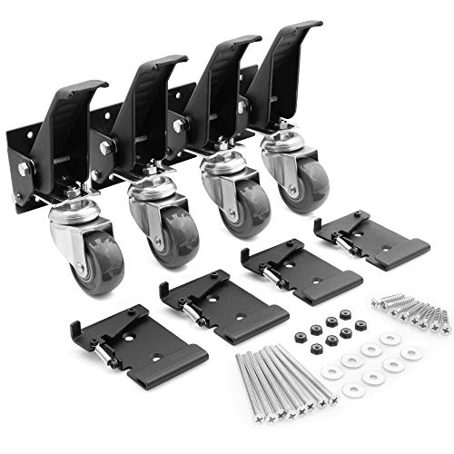 Workbench Caster kit 4 Heavy Duty Retractable Casters with 4 Spring Lock Quick Release Mounting Plates to Quickly Attach/Remove or Switch Casters from a Workbench to a Cabinet, Stand or a Machine.