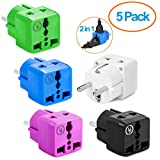 European Plug Adapter by Yubi Power 2 in 1 Universal Travel Adapter with 2 Universal Outlets - 5 Pack - Combo - Shucko Type E / F for France, Germany, Spain, Sweden, Turkey, Ukraine and More!