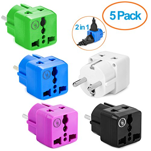 Yubi Power 2 in 1 Universal Travel Adapter with 2 Universal Outlets - 5 Pack - Green White Blue Black Purple - Type E / F for France, Germany, Spain, Sweden, and more!