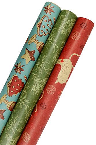 Vintage Christmas Wrapping Paper (K-Kraft Vintage Prints Christmas Kraft Wrapping Paper Sets (Reindeer-Mistletoe-SodaShoppe on Brown Kraft))