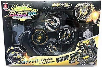 Dabuty Online, S.L. Bursttop Peonza Estilo Beyblade con Lanzador Pack 4 peonzas. Mayor rotación. Version Metal Spinners (Black): Amazon.es: Juguetes y juegos