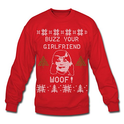Spreadshirt Buzz Your Girlfriend Woof Ugly Christmas Crewneck Sweatshirt, M, red -