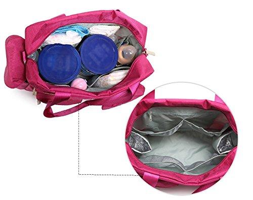 Bolso de la momia, bolso de hombro multi-funcional solo, paquete de las mujeres embarazadas de la capacidad grande, madre y niño fuera del paquete ( Color : Purple ) Rosa Roja