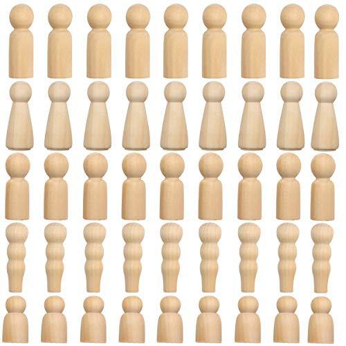Unfinished Wooden Peg Dolls-45 Pcs Peg People, Doll Bodies, Wooden Figures, for Painting, Craft Art Projects, Peg Game, Decoration, Men Women Girls Boys Babies, 5 Assorted Shapes (45 Pack Family Doll) -