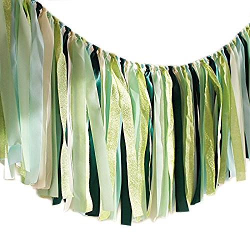 Hangnuo Ribbon Tassel Garland Preassembled Handmade Fabric Banner Hanging Decor for Wedding Baby Shower Gender Reveal Party Photography Backdrop, Green