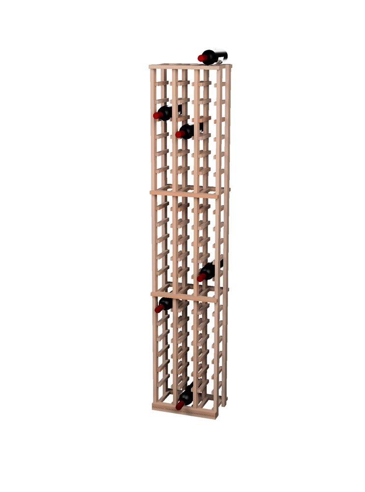Wine Cellar Innovations Traditional Premium Redwood 3 Column Wine Rack, Unstained