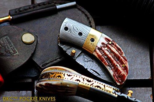 DKC-43-PS-PINK-Pearl-Shell-Thumb-Damascus-Steel-Folding-Pocket-Knife-35-Folded-625-Open-75oz-225-Blade-High-Class-Looks-DKC-Knives
