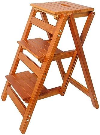 LXJJDGF Taburete, Madera Maciza De 3 Pasos Heces - Convertible Muebles Multifuncionales Plegable Silla De Madera Escalera De Su Casa (Color : A): Amazon.es: Hogar