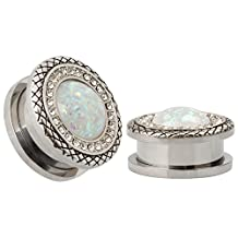 KUBOOZ 316L Stainless Steel Synthetic White Opals Snakeskin Plugs Piercing Body Jewelry Ear Plugs and Tunnels Sold on Pair 8mm to 25mm
