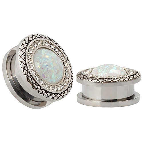 KUBOOZ 316L Stainless Steel Synthetic White Opals Snakeskin Plugs Piercing Body Jewelry Ear Plugs and Tunnels Sold on Pair 14MM