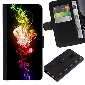 LASTONE PHONE CASE / Lujo Billetera de Cuero Caso del tirón Titular de la tarjeta Flip Carcasa Funda para Samsung Galaxy S5 V SM-G900 / Red Green Explosive Black Vibrant