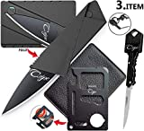 (3 Items) Letter Opener Keychain Knife, Card Size Folding Knife and Card Size Bottle Opener Multi Tool