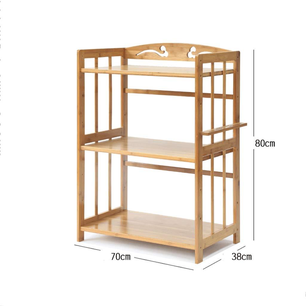 WXL Regal-Mikrowellenherd-Regal-Küchen-Wohnzimmer-Schlafzimmer-Boden-Stand-Bambusholz-Regal-Speicher-Regal WXLV (Farbe   52  38  80CM) 703880cm
