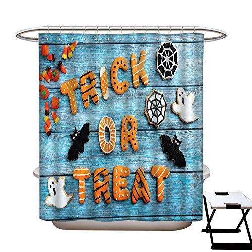 homecoco Vintage Halloween Hotel Quality Shower Curtain Liner Trick or Treat Cookie Wooden Table Ghost Bat Web Halloween Shower Curtain with 12 Beaded Rings Blue Amber -