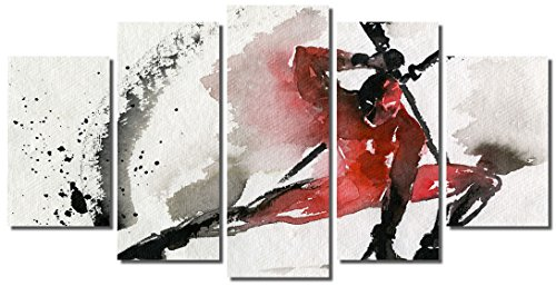 Picture Sensations Framed Canvas Art Print, Abstract Watercolor Deadpool Merc With A Mouth Marvel Comic Super Hero Wall Canvas Art - 60''x32'' by Picture Sensations