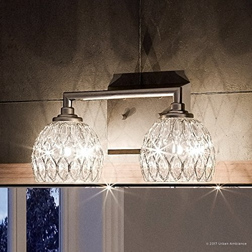 Luxury Crystal Bathroom Vanity Light, Medium Size 6.25 H x 12.5 W, with Classic Style Elements, Brushed Nickel Finish and Marquis Cut Glass Shades, UQL2620 by Urban Ambiance