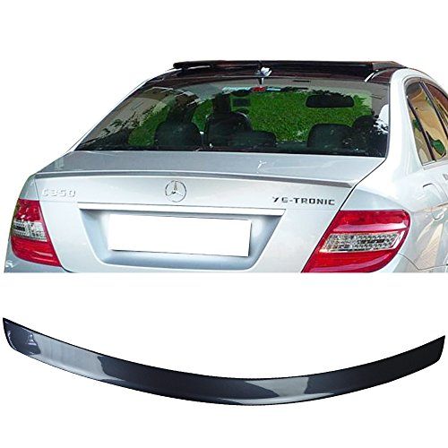 Pre-painted Trunk Spoiler Fits 2008-2014 Mercedes-Benz W204 C Class | AMG Style Painted #755 Steel Gray Metallic ABS Rear Wing Other Color Available by IKON MOTORSPORTS | 2009 2010 2011 2012 2013