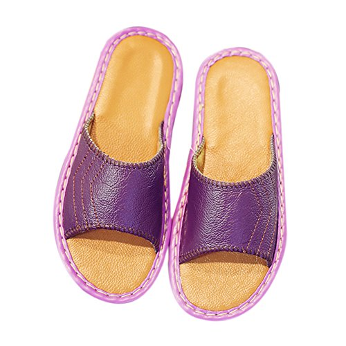 Women for Autumn Anti Cowhide Smelly Wooden Spring Slippers Men Floor Pourpre Corium Leather W Summer TELLW qFxPwOCOS