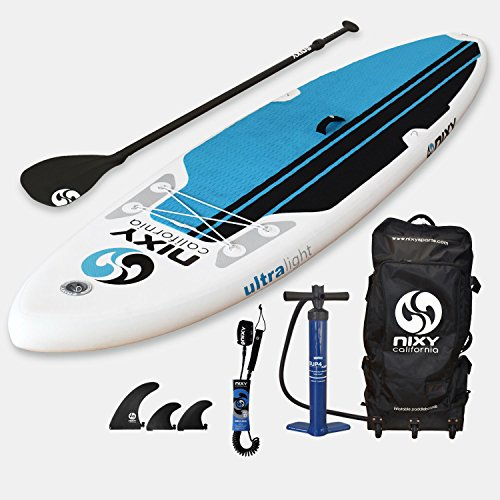 NIXY All Around Inflatable Stand Up Paddle Board Package. Ultra Light 10'6'' Newport Aqua & White Paddle Board Built with Advanced Fusion Laminated Dropstitch Technology and 2 YR Warranty by NIXY