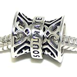 Solid 925 Sterling Silver ''Hour Glass Shaped 'Soulmate''' Charm Bead 119 for European Snake Chain Bracelets