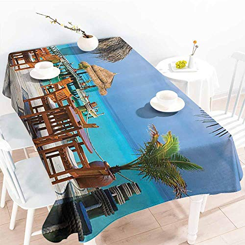 Polyester Tablecloth Coastal Decor Collection Cafe on The Beach Wooden Dock and Sky Party Restaurant Romance Scene Picture Print Peru Beige Blue Teal Table Decoration W60 xL102 -