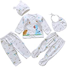 Smgslib 5pcs Newborn Baby Clothes Unisex Infant Outfits Layette Set With Animals Giraffe Elephant