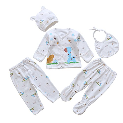 5pcs Newborn Baby Clothes Unisex Infant Outfits Layette Set With Animals Giraffe Elephant(Blue) Boys Grandma Pants