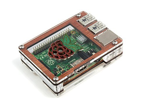 C4 Labs Zebra Wood Case with Raspberry Inlay for Raspberry Pi 3, Pi 2 and B+