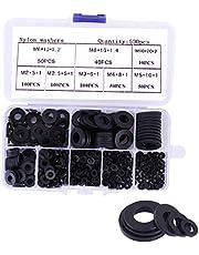 500 stuks kunststof sluitringen, nylon sluitringen, platte sluitringen, assortiment M2, M2,5, M3, M4, M5, M6, M8, M10, Washer voor mechanische