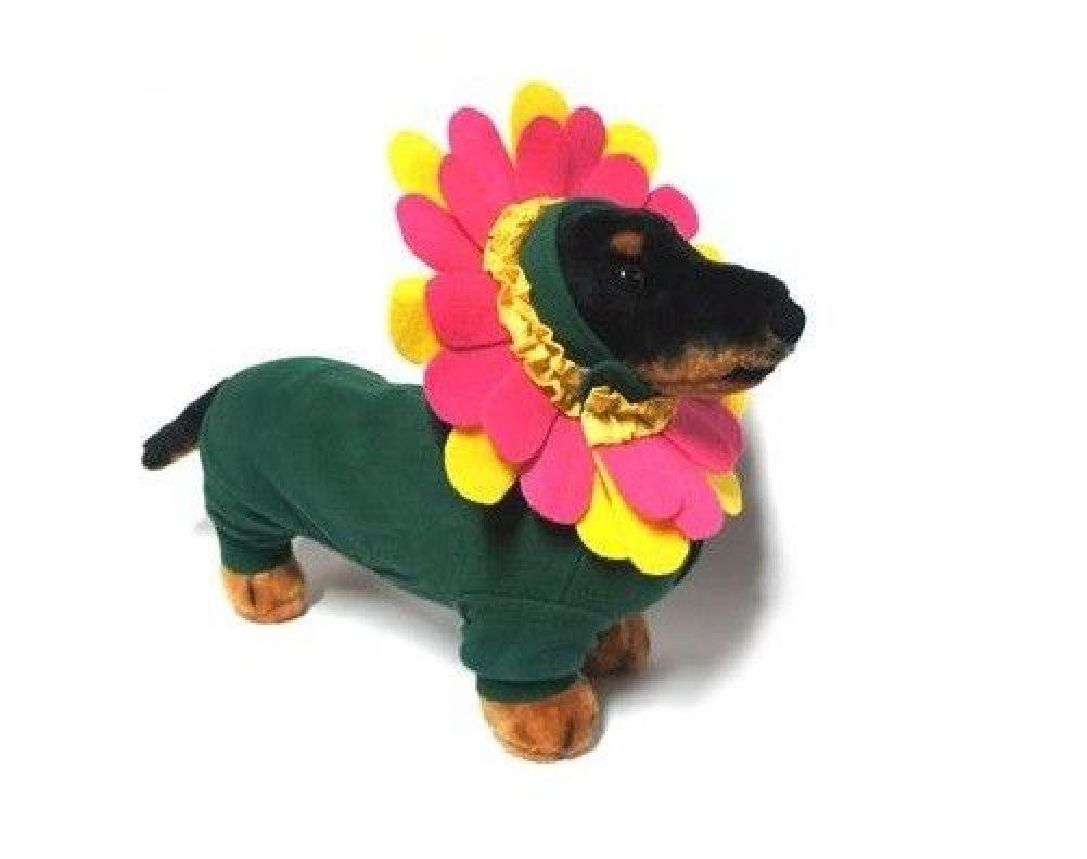 Dog Halloween Costume-Pink Garden Flower Colorful Headpiece & Green Bodysuit