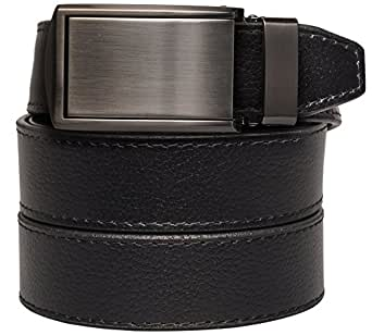 """Slidebelts Men's Leather Belt without Holes - Gunmetal Buckle / Black Leather (Trim-to-fit: Up to 44"""" Waist)"""