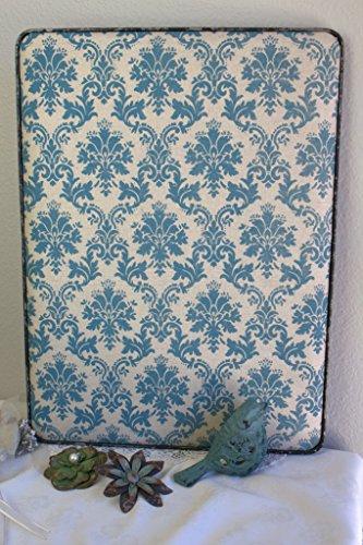 Shabby Broadcloth Push Pin Message Board 20x15 Metal Edged w/ Flower Push Pins