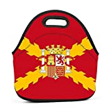 Neoprene Lunch Bag - Spain Spanish Flag Lunch Tote Bags for Women & Girls - Lunch Boxes for Kids & Adult Lunch Box
