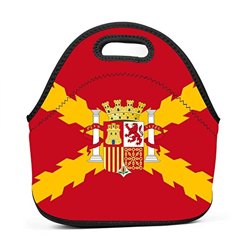 Neoprene Lunch Bag - Spain Spanish Flag Lunch Tote Bags for Women & Girls - Lunch Boxes for Kids & Adult Lunch Box by HUSNSHDO