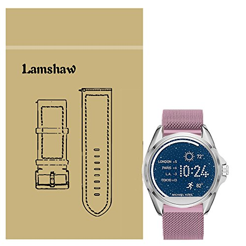 Lamshaw Milanese Magnetic Loop Stainless Stee Rplacement Straps for Michael Kors Bradshaw Smartwatch (Milanese_Rose Pink)