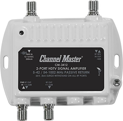 Channel Master CM 3412 2-Port Ultra Mini Distribution Amplifier for cable and antenna signals (CM3412) (Coax 2 Way Splitter Amplified)