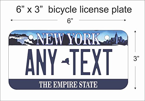 ATD New York State Replica Novelty License Plate or Mini License Plate For Bicycles, Bikes, Wheelchairs, Golf Carts personalized with your design custom vanity Decorative - York Plate Custom New