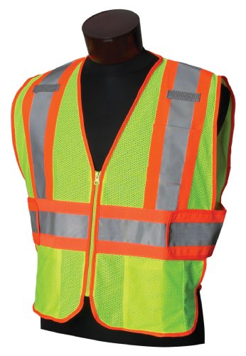 Jackson Safety 20298 ANSI Class 2 Two-Tone Polyester Safety Vest, Lime Mesh, Silver Reflective Tape with Orange Trim (Horizontal Reflective Tape)