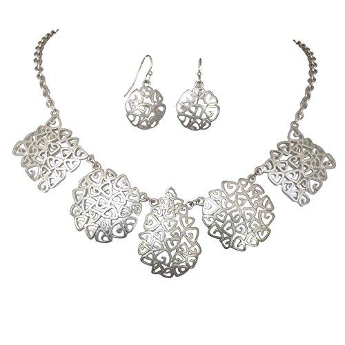 - Hidden Hearts Multi Shape Matte SIlver Tone Trendy Boutique Style Necklace & Earrings Set