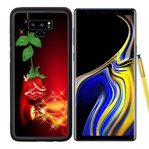 Liili Premium Samsung Galaxy Note 9 Aluminum Backplate Bumper Snap Case Rose and a Burning Candle Photo 9611771