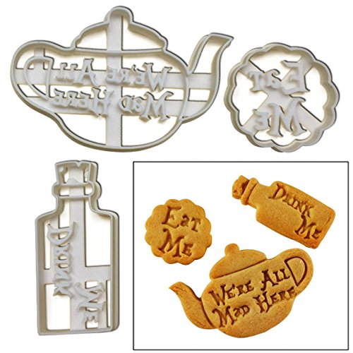 "FULL SET of 3 cookie cutters inspired by ""Alice's Adventures in Wonderland"" novel by Lewis Carroll, 3 pcs (Eat Me, Drink Me potion, and We're All Mad Here teapot)"