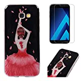 For Samsung Galaxy A5 2017 A520 Case with Screen Protector,OYIME Glitter Bling Design Ultra Thin Slim Fit Protective Back Cover Soft Silicone Rubber Shell Drop Protection Anti-Scratch Transparent Bumper and Screen Protector (Dancing Girl)